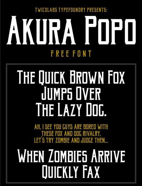 Ücretsiz 100 font Akura Popo