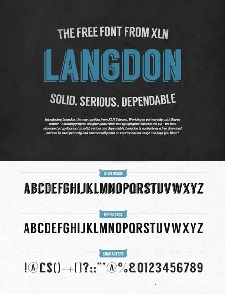 Ücretsiz 100 font Langdon